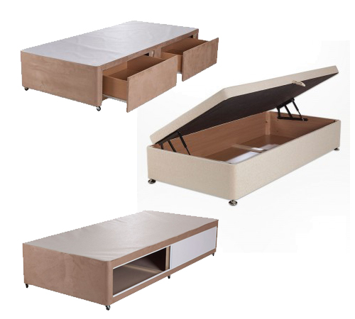 3 single bed bases. an ottoman, a base with sliding doors and base with drawers