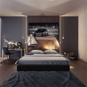 bedroom setting with dressed bed frame large poster of racing car above bed