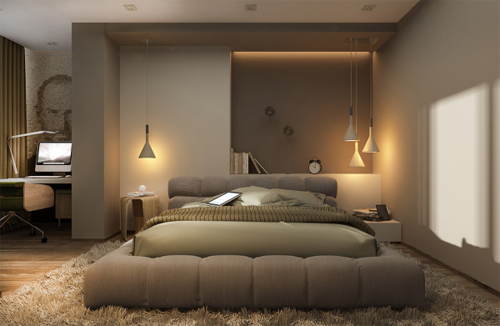 luxury bedroom setting, bed on deep rug