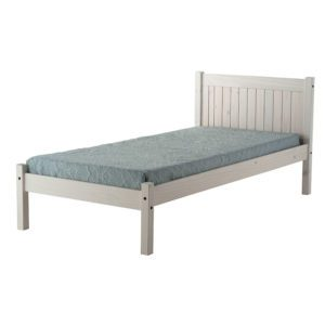 The single Bowley whitewash bed frame has paneled head end and low foot end. It is a solid pine frame with a popular and simple ageless design - Sussex Beds