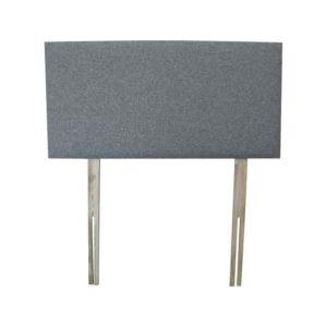 "Sussex Beds - 2'6"" Small Single Kimery Grey Headboard - Rectangular dark grey padded headboard with wooden struts"