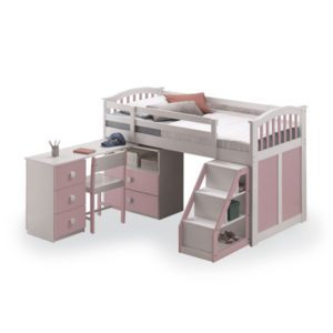 "Sussex Beds - 3'0"" Houston Pink Mid Sleeper"