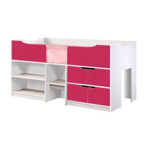 Sussex Beds - 3'0 New York White & Pink Cabin Bed