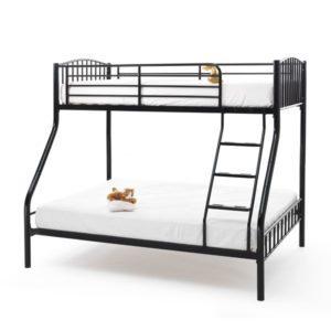"Sussex Beds - 3'0""/4'6"" Ridgewood Black Three Sleeper Bunk"
