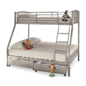 The Ridgewood Three Sleeper Bunk Bed has a single top bunk and a double bed below. A wide stepped ladder is fitted for extra safety and comfort - sussex beds
