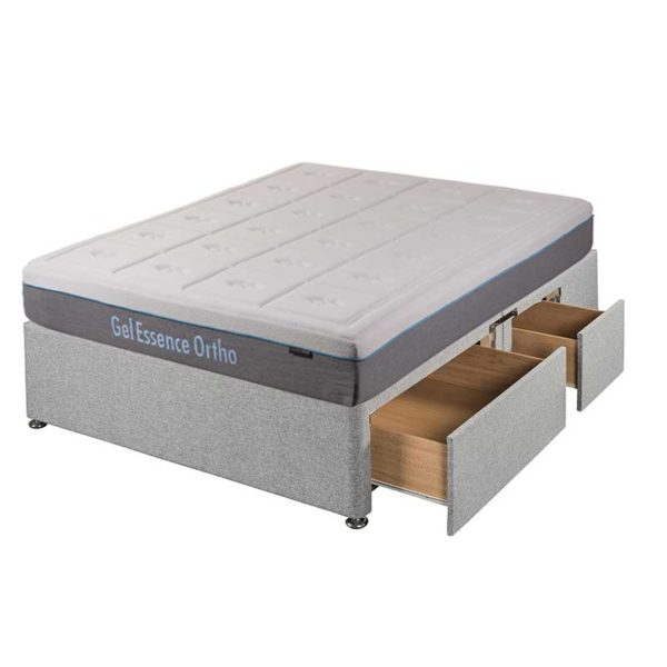 Double Gel Essence Ortho mattress on grey Divan Base with 2 large drawers and 2 small drawers - Sussex Beds