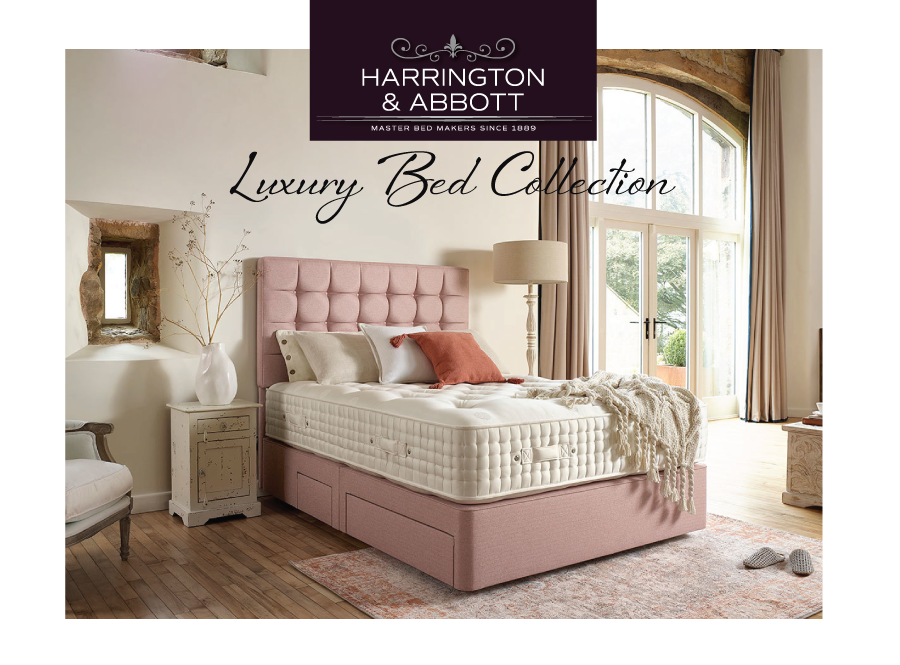 Rustic Country bedroom setting with zipped and linked bed with orange divan base and headboard - Sussex beds