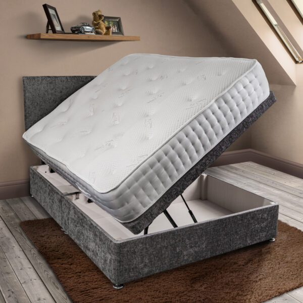 BURLEY pocket sprung mattress in white fabric on a side lift ottoman dark grey base in open position with matching headboard - Sussex Beds