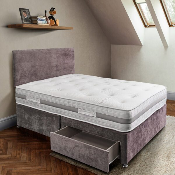 hinton pocket sprung mattress in white tencel fabric on a purple coloured 2 drawer divan base with matching plain headboard - Sussex Bed