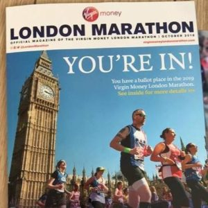 Running For Autism - London Marathon magazine with big ben on the front and runners