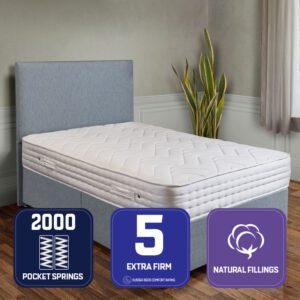 """Sussex Beds - 3'0"""" Single Natural Bronze Divan Bed"""