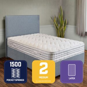 "Sussex Beds - 3'0"" Single Natural Gold Divan Bed"