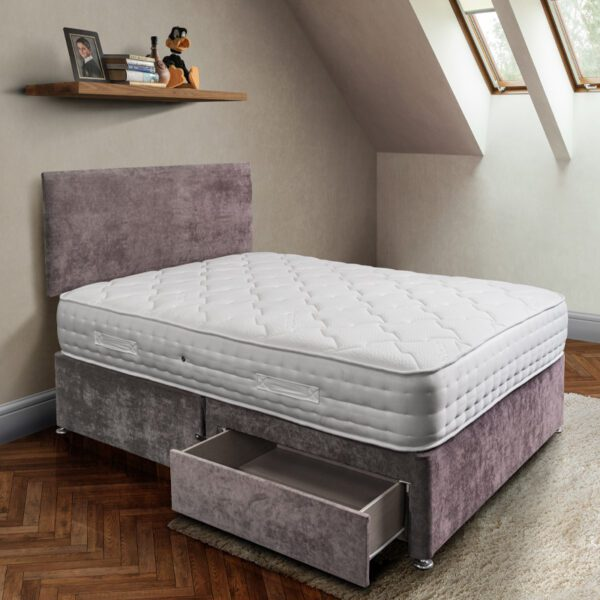 rockford pocket sprung mattress in white tencel fabric on a mushroom coloured 2 drawer divan base with matching plain headboard - Sussex Bed