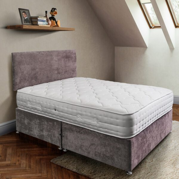 rockford pocket sprung mattress in white fabric on purple fabric base with matching headboard - Sussex Beds