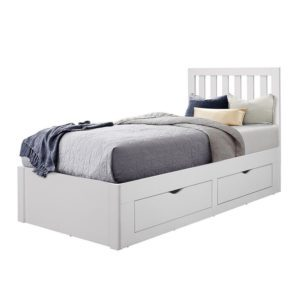 Oakland white bed is a traditionally styled childrens bed frame. Low foot end and slatted head end. This features 4 large drawers for storage. Finished in a white lacquered colour.