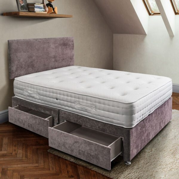 burley-4dr-divan set on lilac base with square headboard in bedroom setting