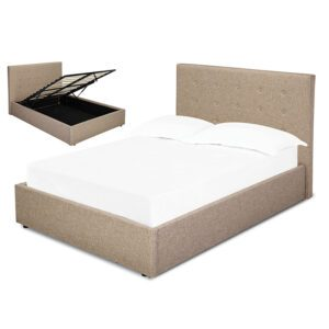 "Sussex Beds - 4'0"" Small Double Brenzett Beige Ottoman Bed Frame"