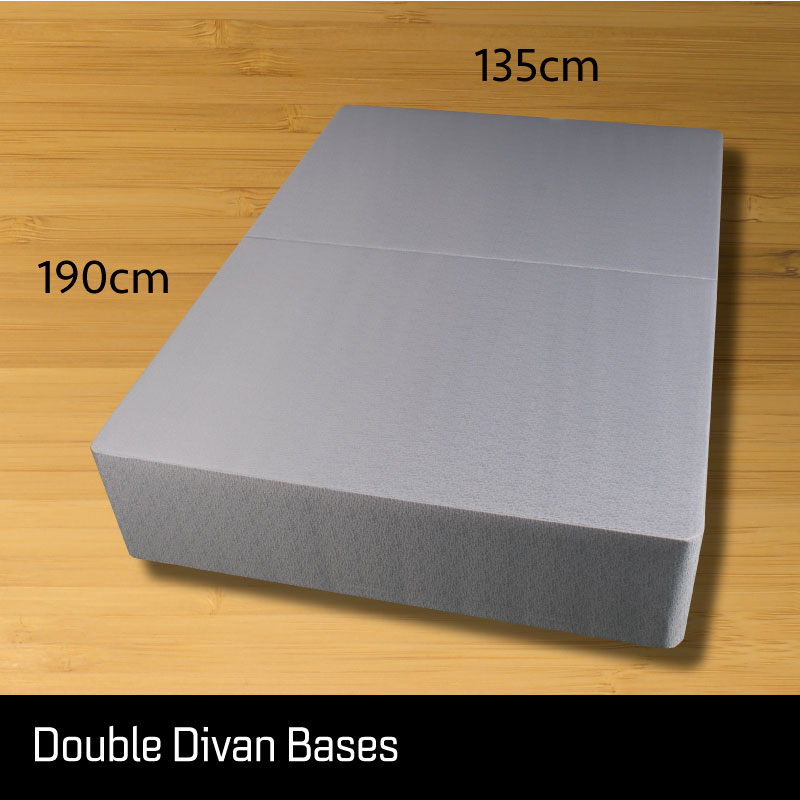 Double size divan bed base - Sussex Beds - Double size divan bed base that separates length ways finished in a grey fabric with measurements