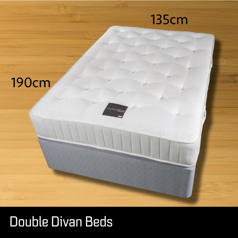 Double divan bed - Sussex Beds - Small double divan bed on wooden floor showing size measurements 135cm wide 190cm long