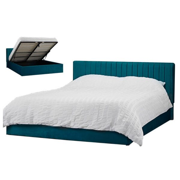 """Sussex Beds - 4'0"""" Small Double Grays Teal Ottoman Bed Frame"""