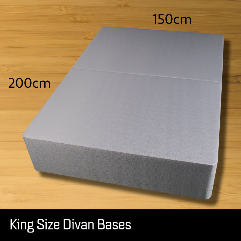 king size divan bed base - Sussex Beds - king size divan bed base that separates length ways finished in a grey fabric with measurements