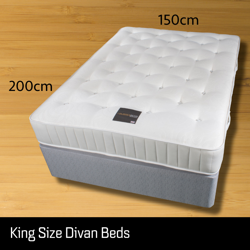 King size divan bed - Sussex Beds - King size divan bed on wooden floor showing size measurements 150cm wide 200cm long