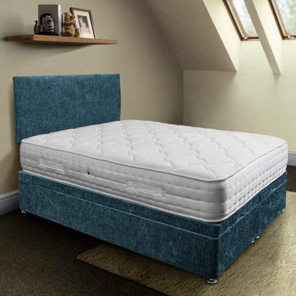 rockford pocket sprung mattress in white fabric on a blue closed ottoman base with matching headboard - Sussex Beds