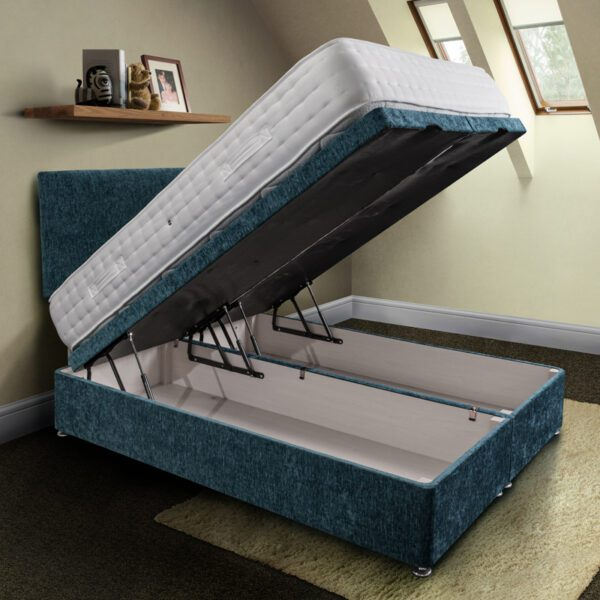 rockford pocket sprung mattress in white fabric on a blue open ottoman base with matching headboard - Sussex Beds