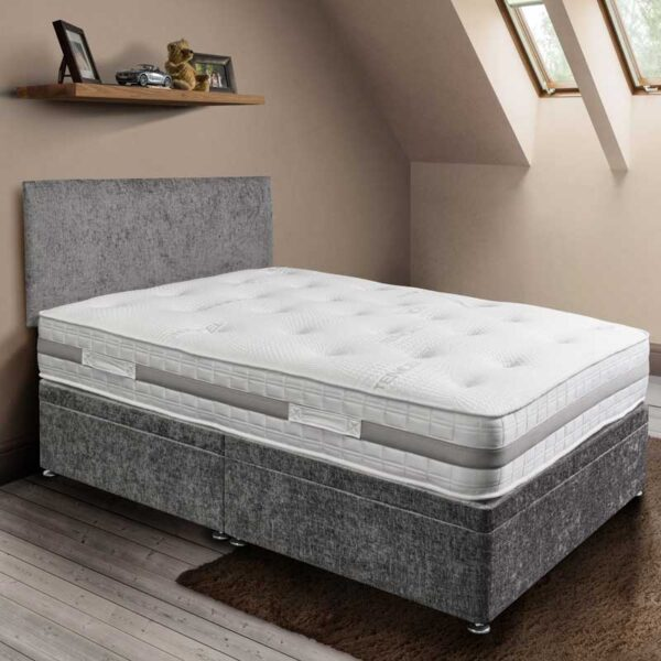 hinton pocket sprung mattress in white tencel fabric on a grey coloured ottoman base with matching plain headboard - Sussex Bed