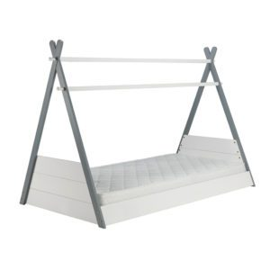 The Aspen pine bed frame is cool looking design. This can be easily personalised and decorated to suit the bedroom decor. The sleeping surface is low to the floor. Finished in a grey and white colour. Shaped in a teepee style.