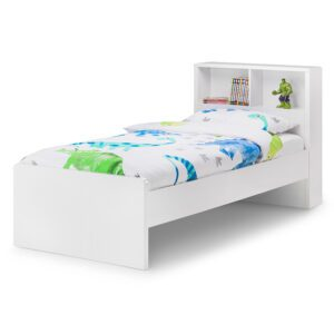 "Sussex Beds - 3'0"" Single Crosby Bookcase Gloss White Bed Frame"