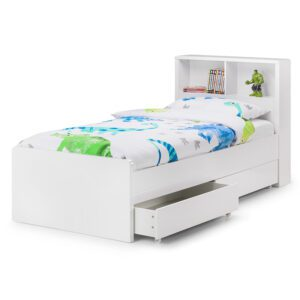 """Sussex Beds - 3'0"""" Single Crosby Bookcase 2 Drawer Gloss White Bed Frame"""