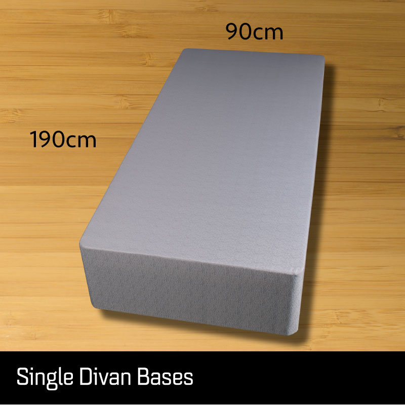 Single size divan bed base - Sussex Beds - Single size divan bed base that separates length ways finished in a grey fabric with measurements