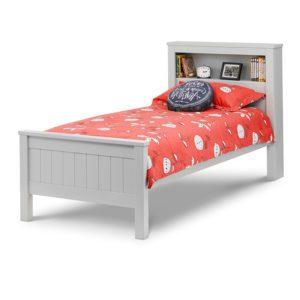 """Sussex Beds - 3'0"""" Single Egerton Bookcase Grey Bed Frame"""