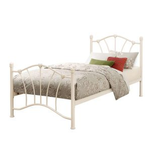 The Malibu cream bed frame is an elegant curved top cream childrens bed frame. This features beautiful heart castings on both head and foot end. Finished with a sprung slatted base. - Sussex Beds