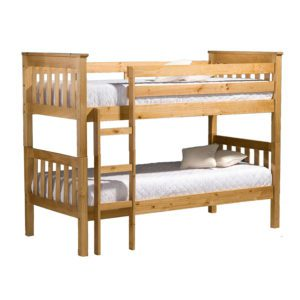The Ontario Pine Bunk Bed Frame is a traditional style with a versatile design upright slatted ends - Sussex Beds