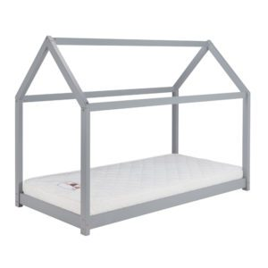 Pasadena grey bed frame is designed in the shape of a house. The sleeping surface is low to the floor. Finished in a grey lacquered colour.