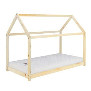 Pasadena pine bed frame is designed in the shape of a house. The sleeping surface is low to the floor. Finished in a natural pine colour.