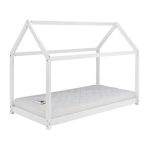 Pasadena white bed is designed in the shape of a house. The sleeping surface is low to the floor. Finished in a white lacquered colour - sussex beds