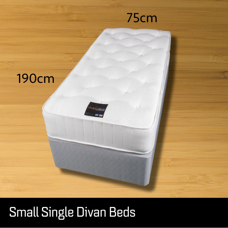 Small single divan bed - Sussex Beds - Small single divan bed on wooden floor showing size measurements