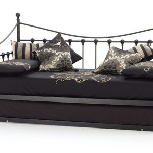 "Sussex Beds - 3'0"" Skye Black Day Bed with Guest Bed"