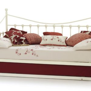 "Sussex Beds - 3'0"" Skye Ivory Gloss Day Bed with Guest Bed"