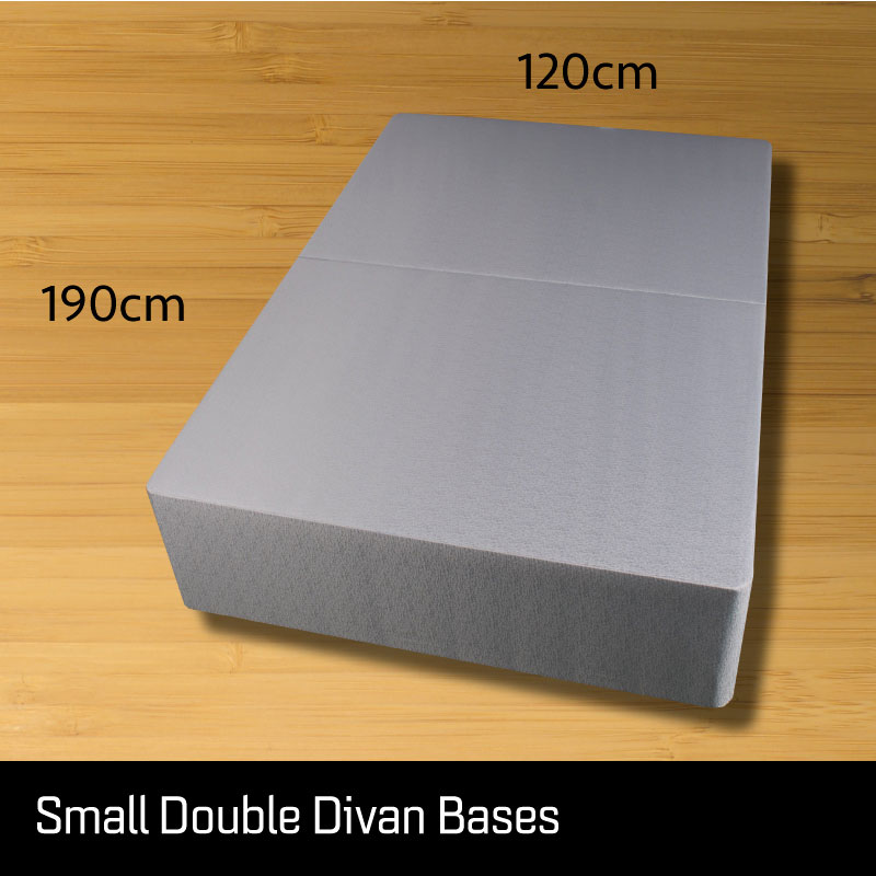 Small double size divan bed base - Sussex Beds - Small double size divan bed base that separates length ways finished in a grey fabric with measurements