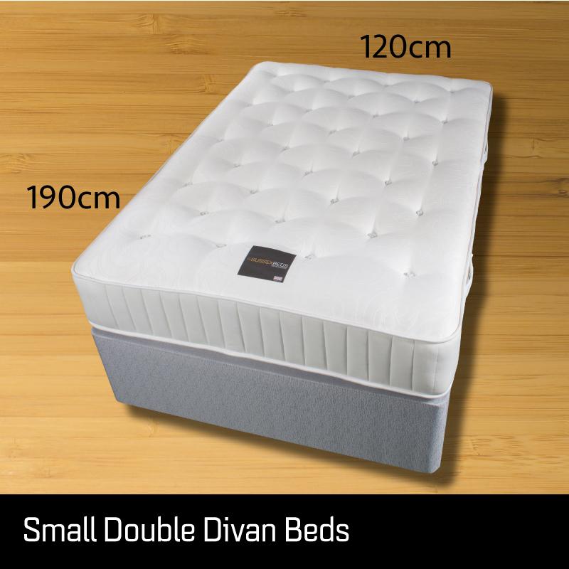 Small double divan bed - Sussex Beds - Small double divan bed on wooden floor showing size measurements 120cm wide 190cm long