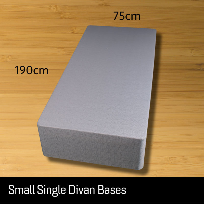 Small Single size divan bed base - Sussex Beds - Small single size divan bed base that separates length ways finished in a grey fabric with measurements