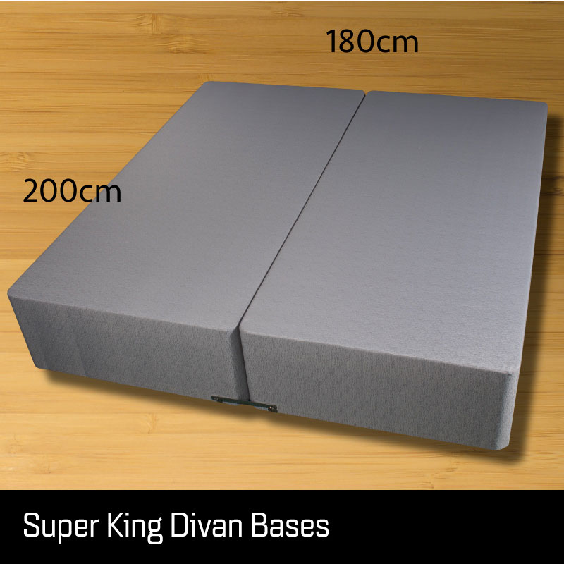 Super king size divan bed base - Sussex Beds - Super king size divan bed base that separates length ways finished in a grey fabric with measurements 180cm wide 200cm length
