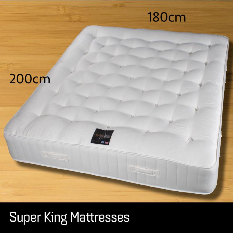 Super king mattress - Sussex Beds - Super King mattress laid on floor showing size measurements 180cm wide 200cm long