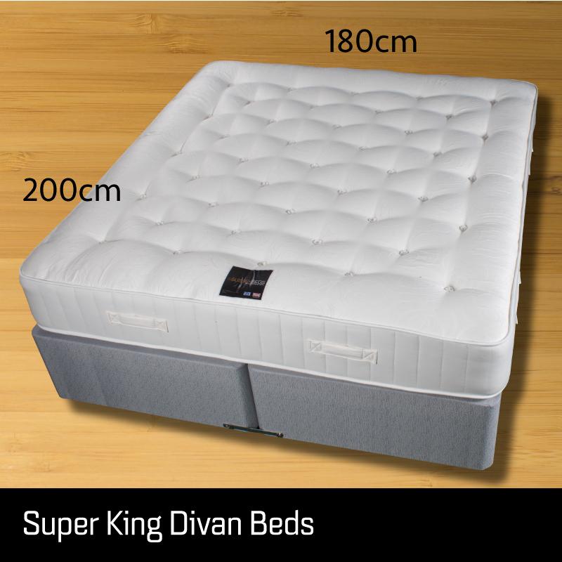 Super king size divan bed - Sussex Beds - Super king divan bed on wooden floor showing size measurements 180cm wide 200cm long