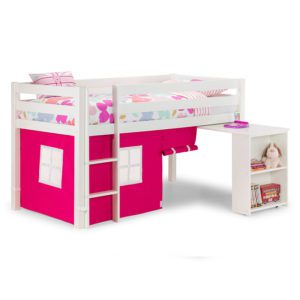 Sussex Beds - Washington White Cabin Bed with Pink Tent