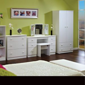 Winchelsea white bedroom furniture - Sussex Beds - Range of white bedroom furniture including 2 door wardrobe, double dressing table with stool and 3 drawer chest